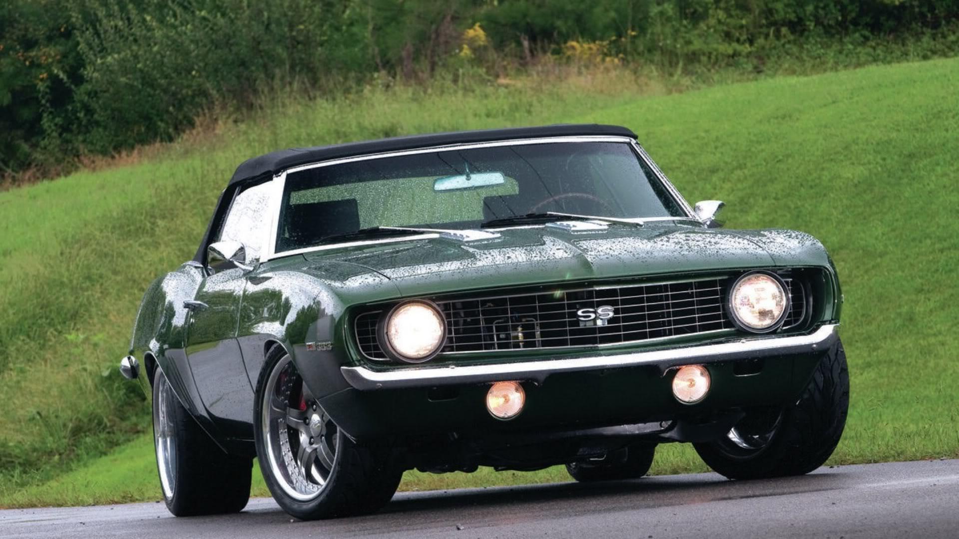 1969 Dark Mag Green Camaro SS Wallpaper
