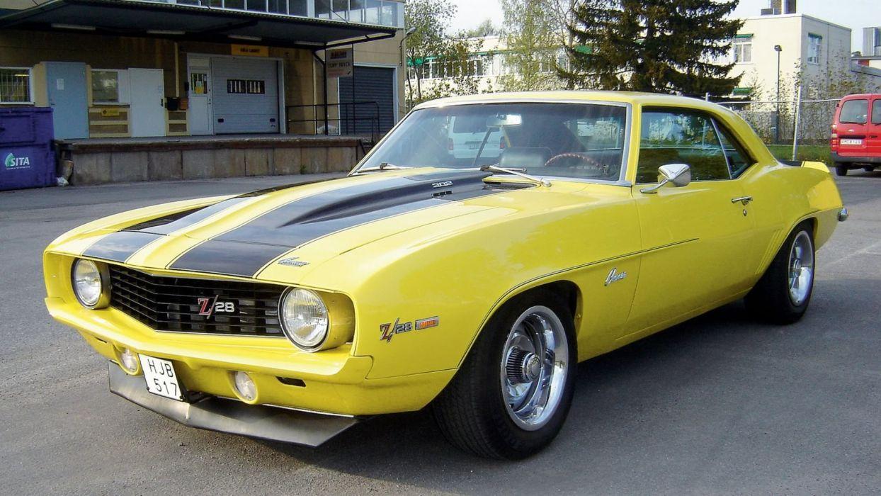 1969 Yellow 302 Z28Camaro wallpaper
