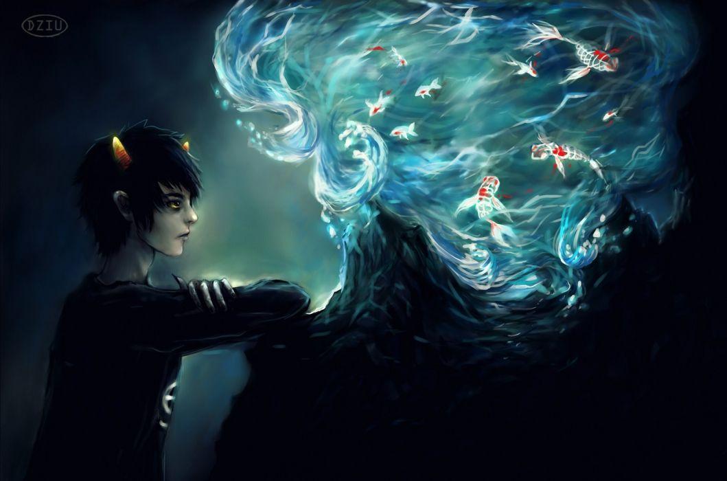 art fantasy fishes boy magic demon wallpaper