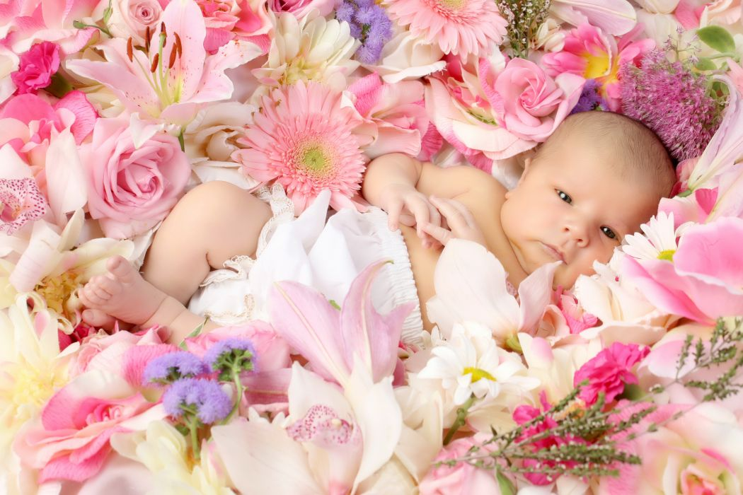 children flowers wallpaper