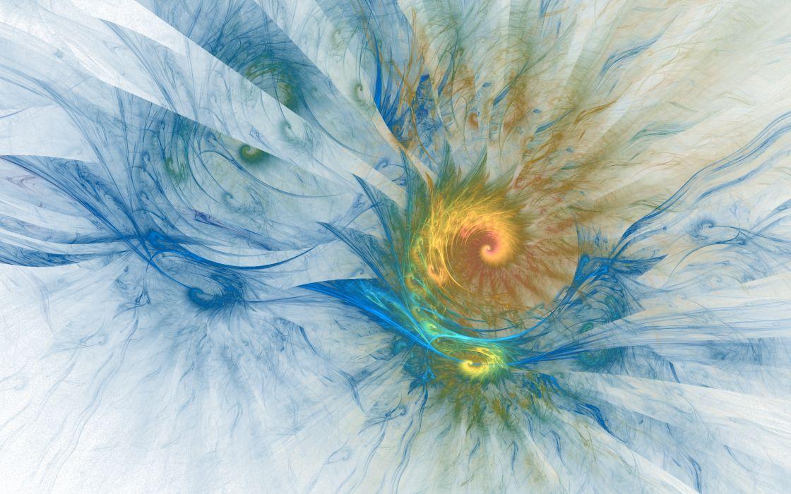 Blue White Yellow Waves Fractals Spiral Rainbows 2560A wallpaper