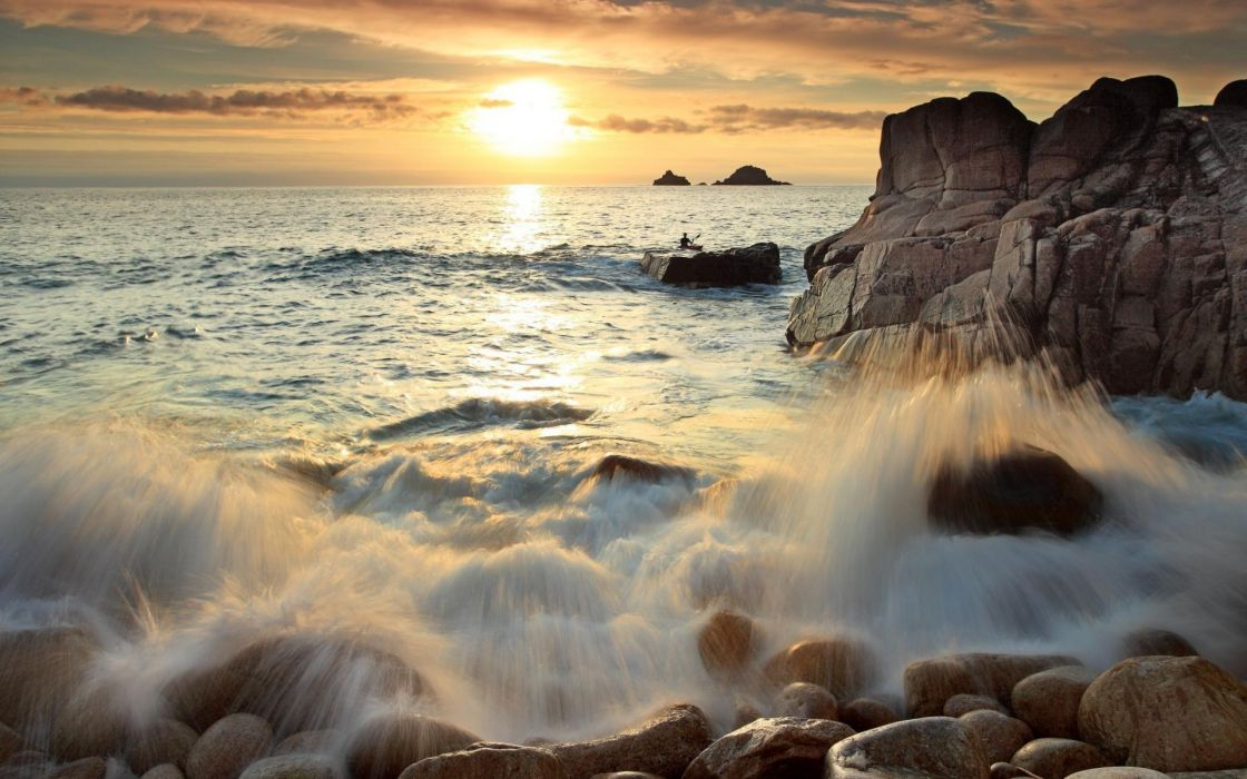 waves sunset wallpaper