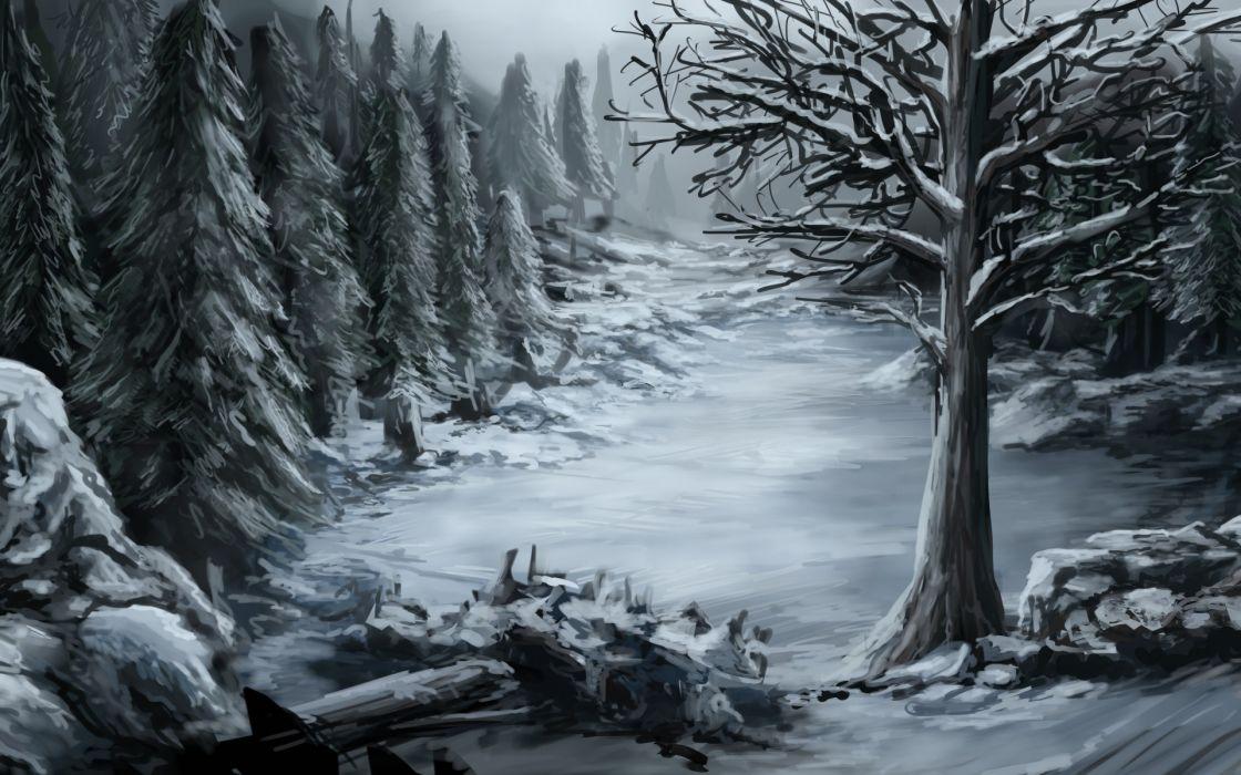 fantasy art winter wallpaper