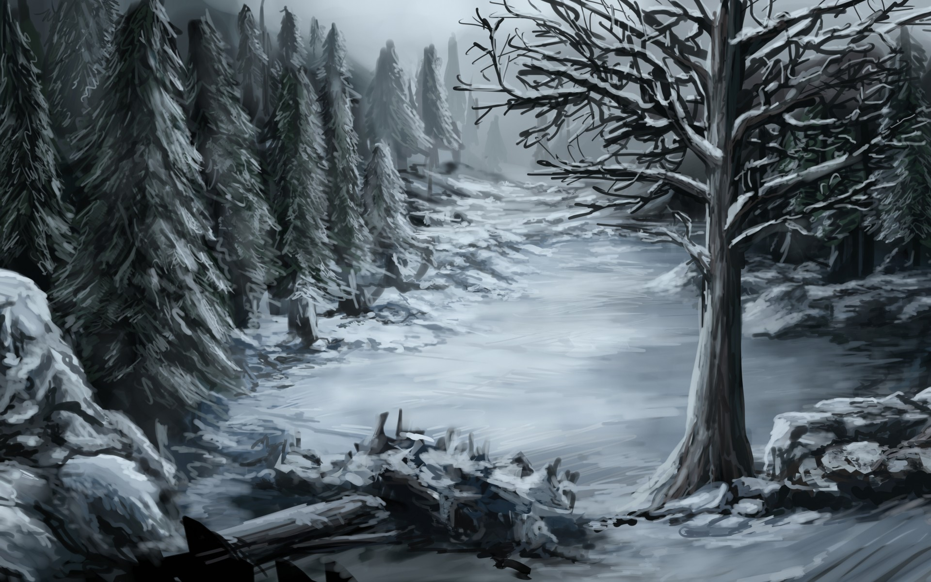 Fantasy Art Winter Wallpaper 1920x1200 37088 Wallpaperup