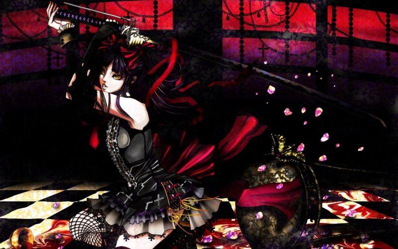 katana gothic shugo chara anime anime girls art wallpaper