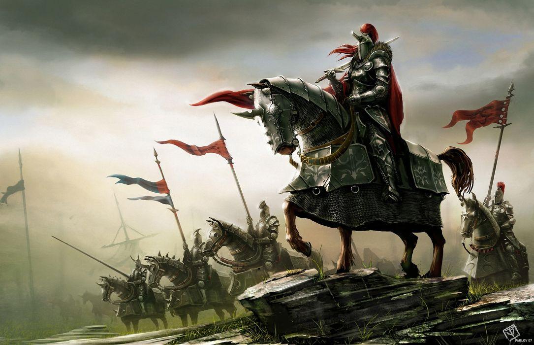 fantasy art knight warrior horses armor wallpaper