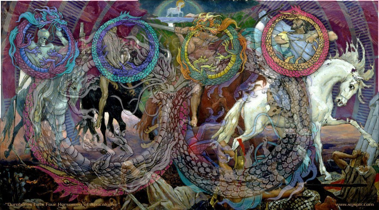 4 Horsemen of the Apocalypse dark fantasy religion wallpaper