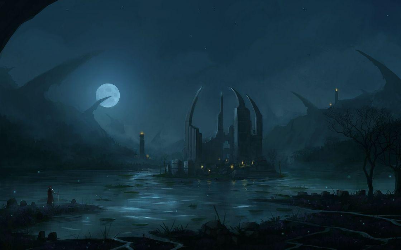 fantasy art warrior cities dark wallpaper