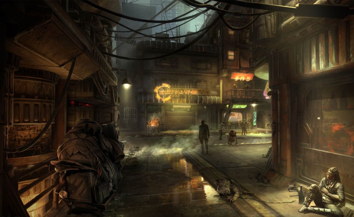 Star Wars 1313 street cities slums video games sci fi science futuristic creatures aliens mood wallpaper