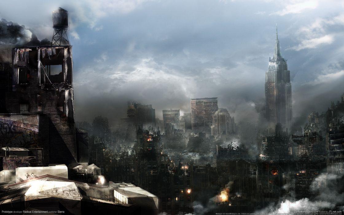 Prototype New York prototype virus cities buildings skyscrapers sci fi post apocalyptic destruction decay ruins dark horror video wallpaper