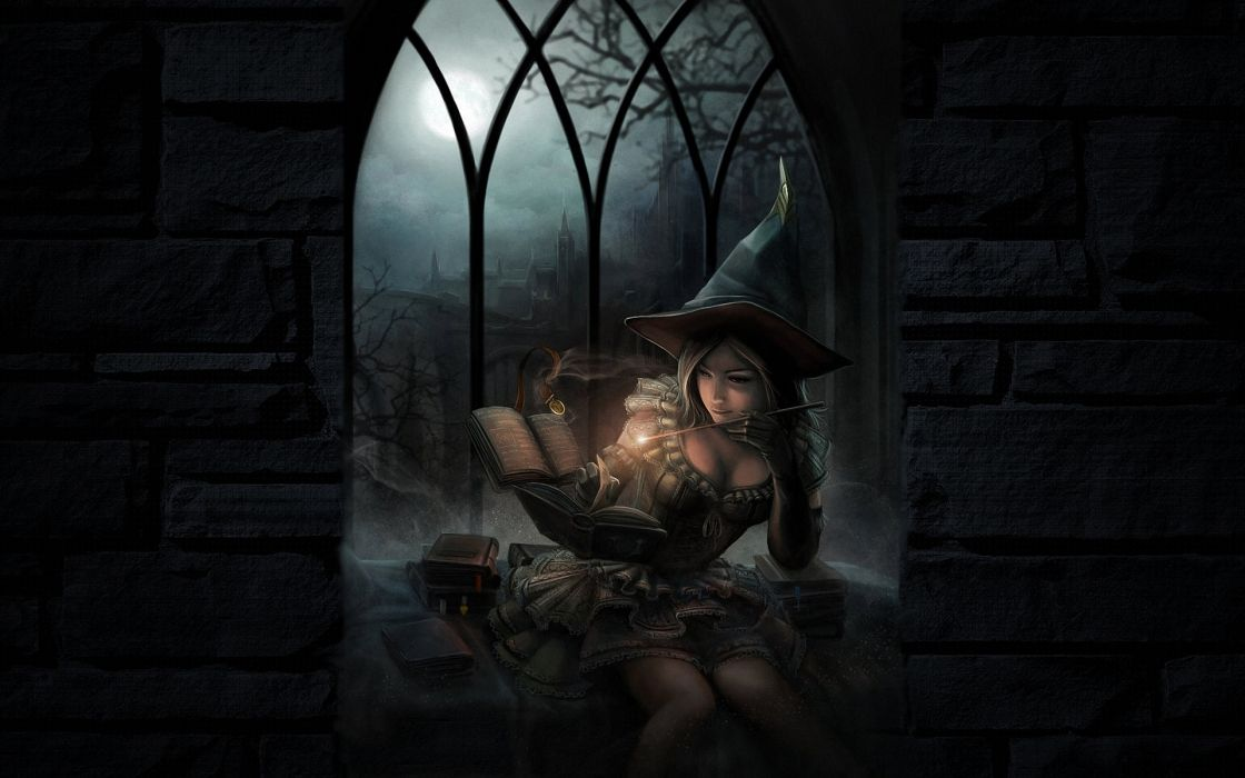 fantasy art dark witch magic spell books halloween girl women babes wallpaper