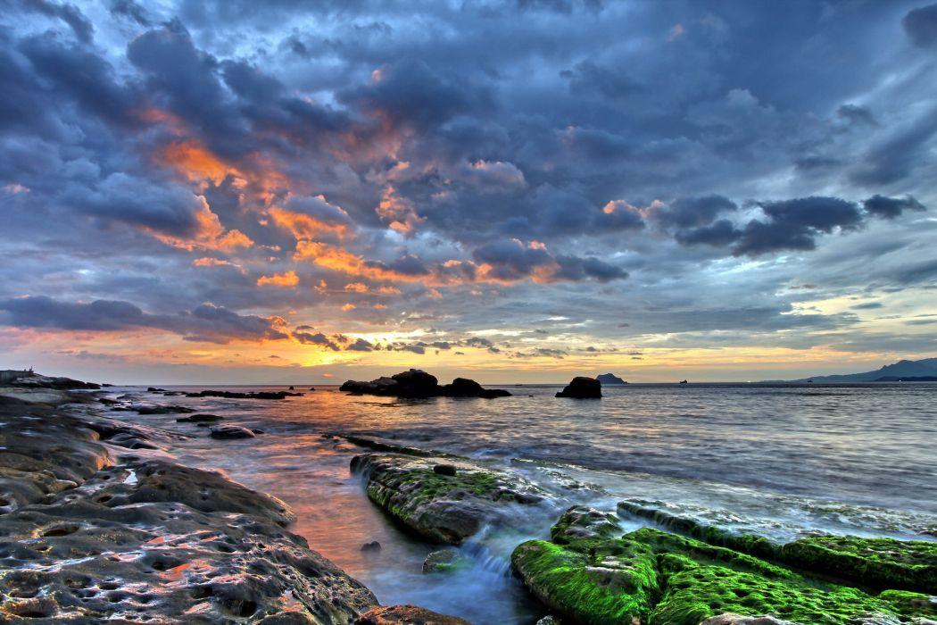 _             1 landscapes beaches shore coast waves hdr stone rocks ocean sea islands sky clouds sunset sunrise wallpaper
