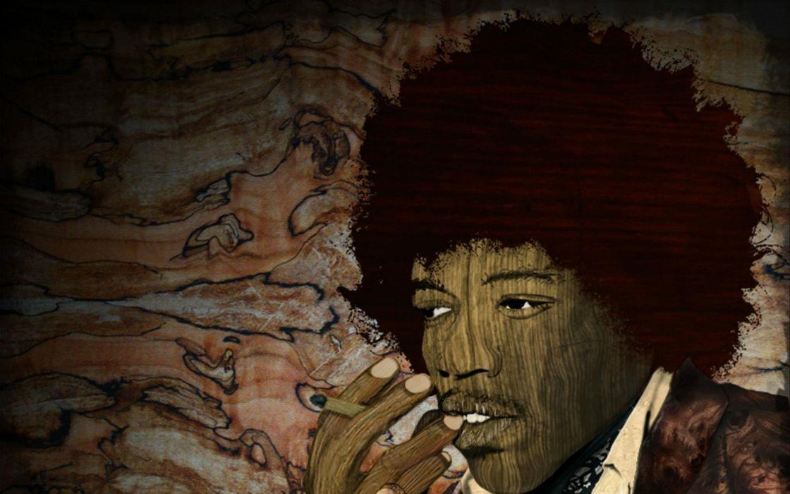 smoking jimi hendrix singers digital pop art manipulation cigarettes guitars men males abstract people hard rock classic wallpaper