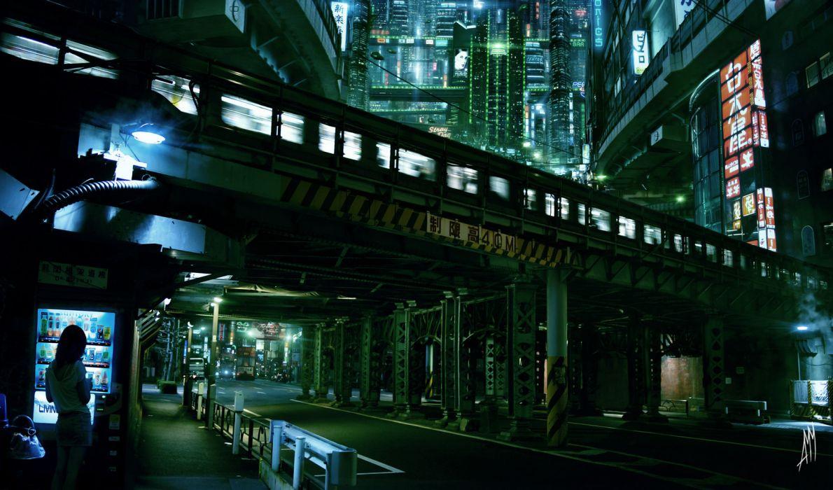 cyberpunk city lights futuristic skyscrapers train tokyo AMM sci fi science architecture buildings cities wallpaper