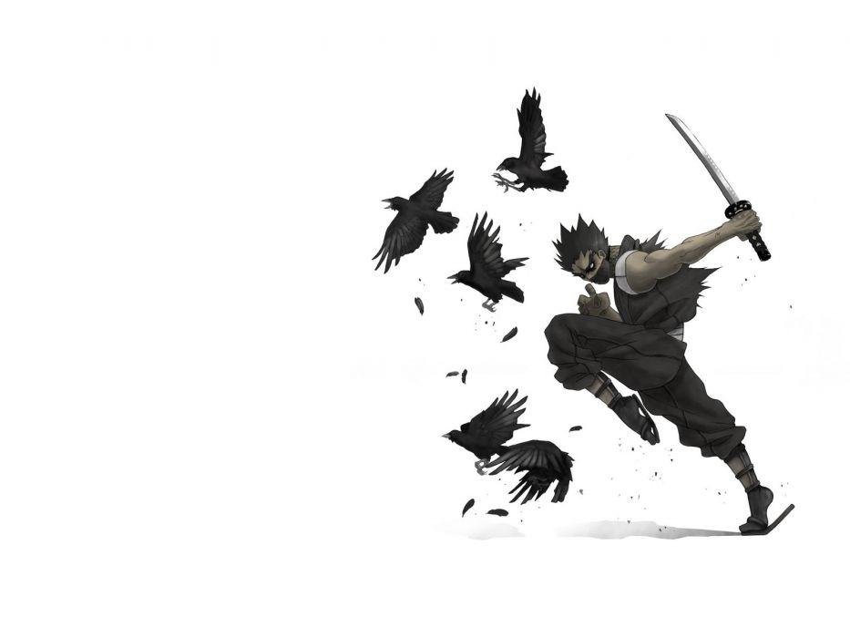 1 ravens swords asian oriental anime original art crow weapons swords katana mask feathers boy men males wallpaper
