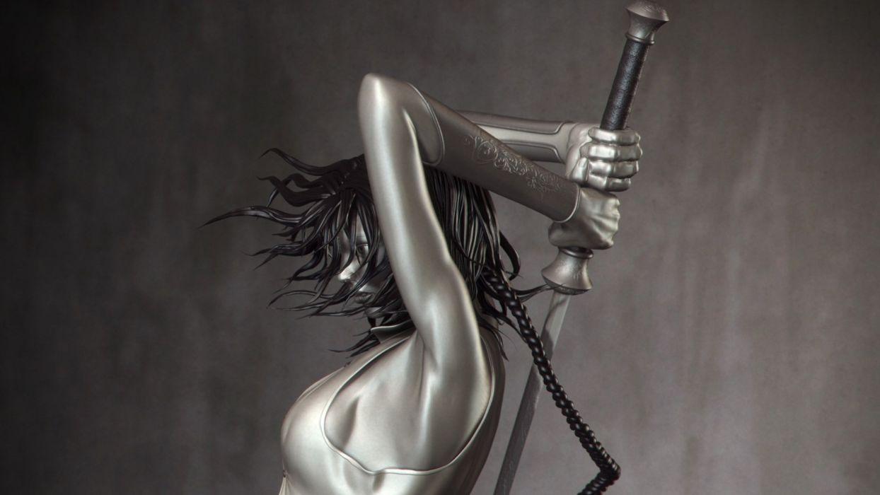 1 fantasy art warriors swords women girl sexy babes cg digital boobs cleavage wallpaper