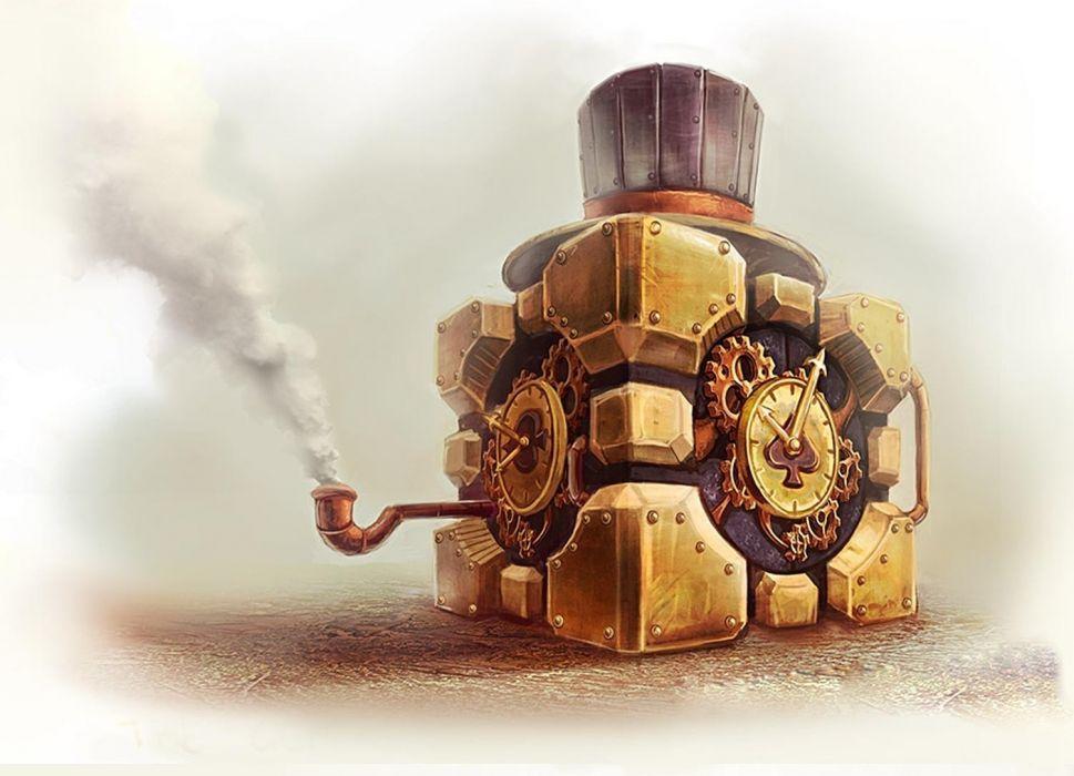 1 smoke steampunk clocks companion cube tophat artwork aperture laboratories pipes portal mech sci fi watch wallpaper