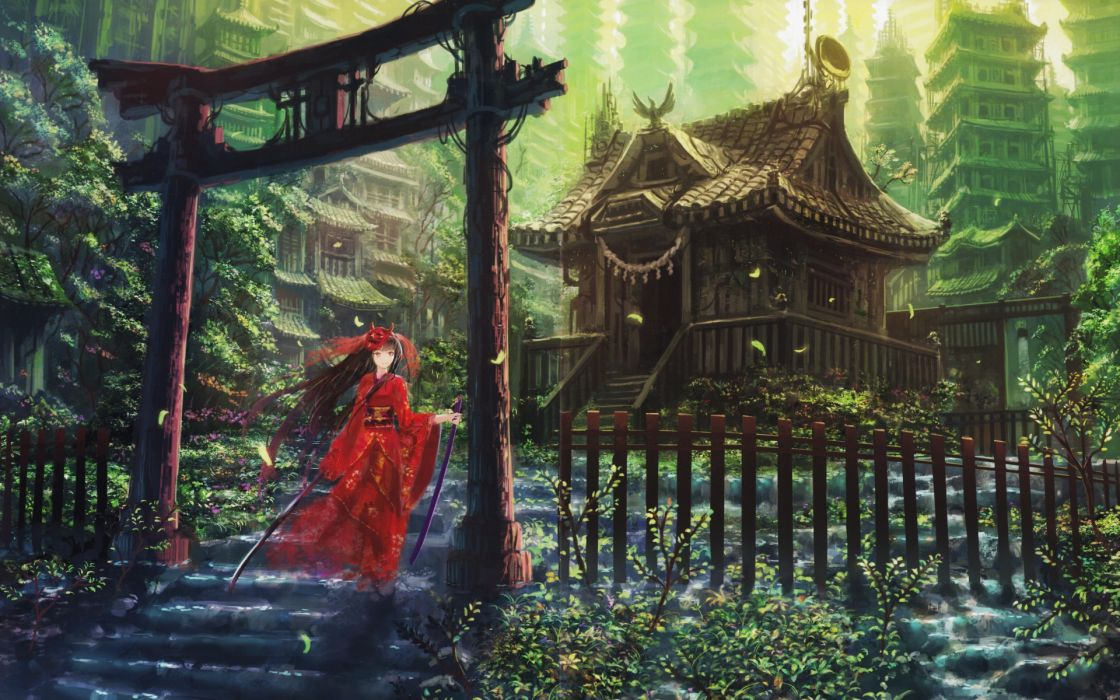 1 torii japanese clothes hinomoto oniko asian oriental castles cities vector art women weapons swords katana kimono architecture buildings trees stairs girl wallpaper