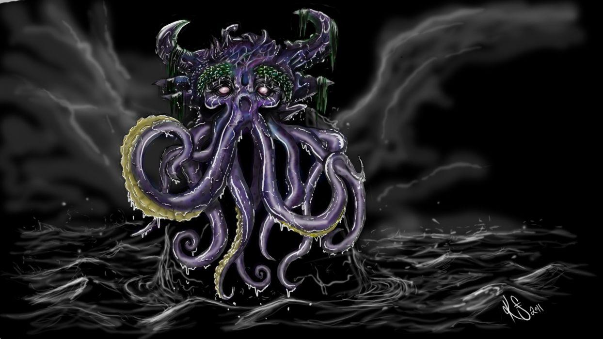 1 fantasy art dark monster creature octopus ocean sea storm sky clouds waves cthulhu wallpaper