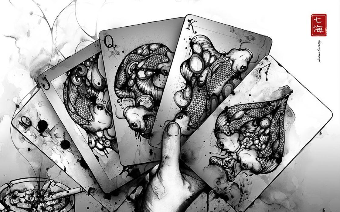 1 asian oriental cards fantasy drawing art koi creature cigarettes wallpaper