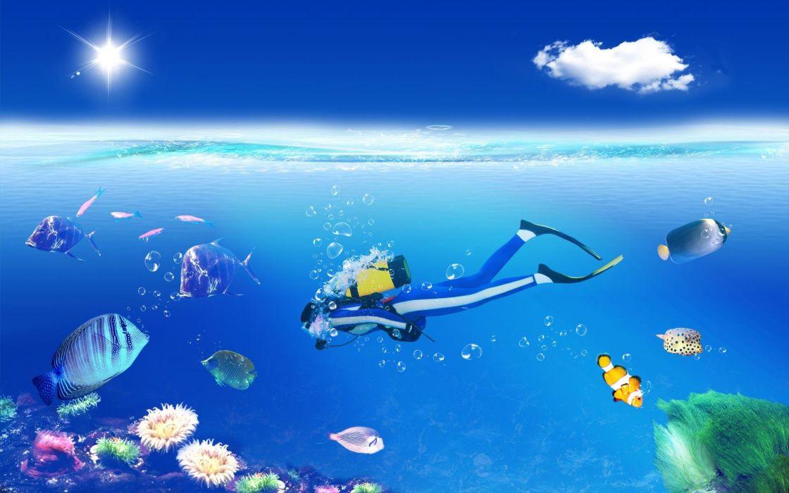 1 scuba diving art vector tropical sports fishes ocean sea underwater bubbles wallpaper