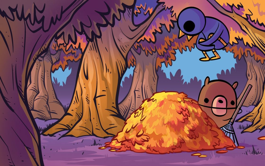 1 art nedroid cute cartoon bears birds trees forest woods leaves nature autumn fall wallpaper