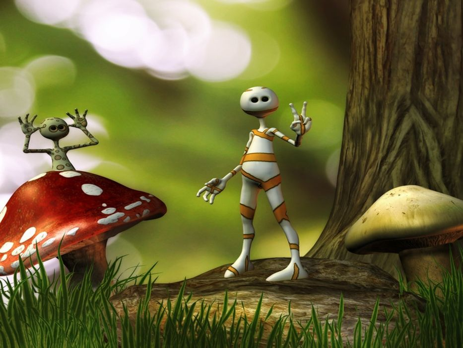 1 manipulation fantasy art sci fi alien creature 3d cg digital mushrooms grass cartoon wallpaper