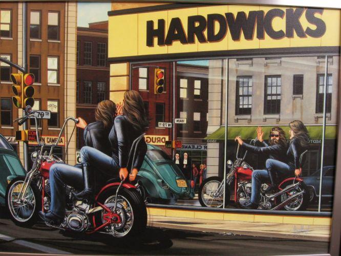 1 Motorcycle Reflection Drawing biker chopper bike motorbike women men brunettes wallpaper