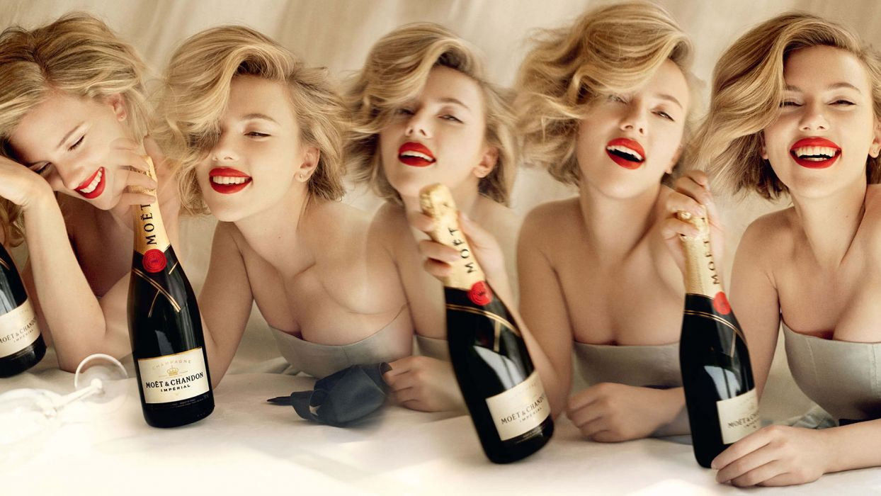 1 Scarlett Johansson Blonde Champagne Bottle women actress sexy babes style drinks wallpaper