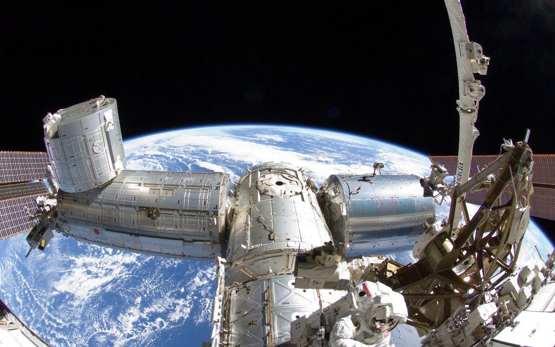 1 space station earth planet fisheye sci fi science tech mech wallpaper