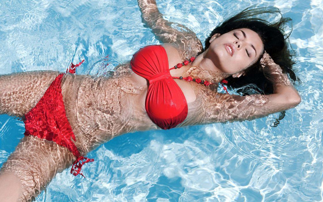 1 women fashion models brunettes sexy babes bikini swimwear wallpaper