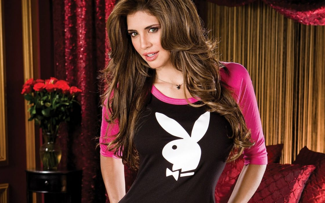 Hope Dworaczyk playboy logo adult women models brunettes sexy babes face pov wallpaper