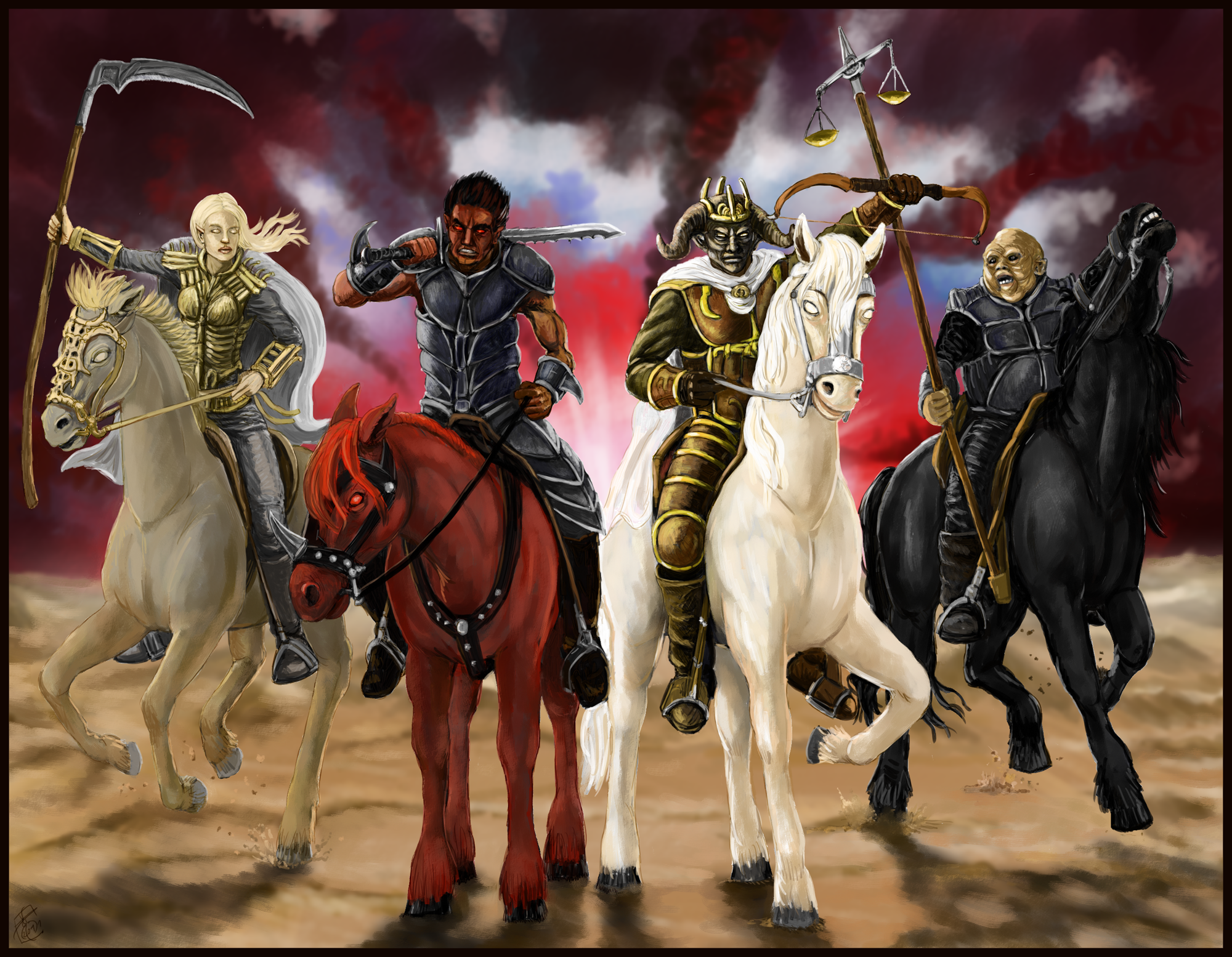 The Four Horsemen religion revelations dark horror horses reaper fantasy art wallpaper background