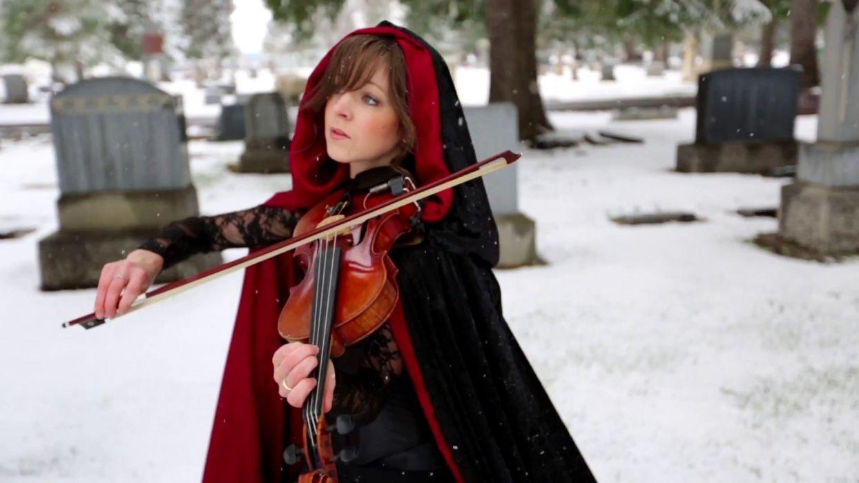 lindsey stirling violinist winter cemetery grave women brunettes violin wallpaper