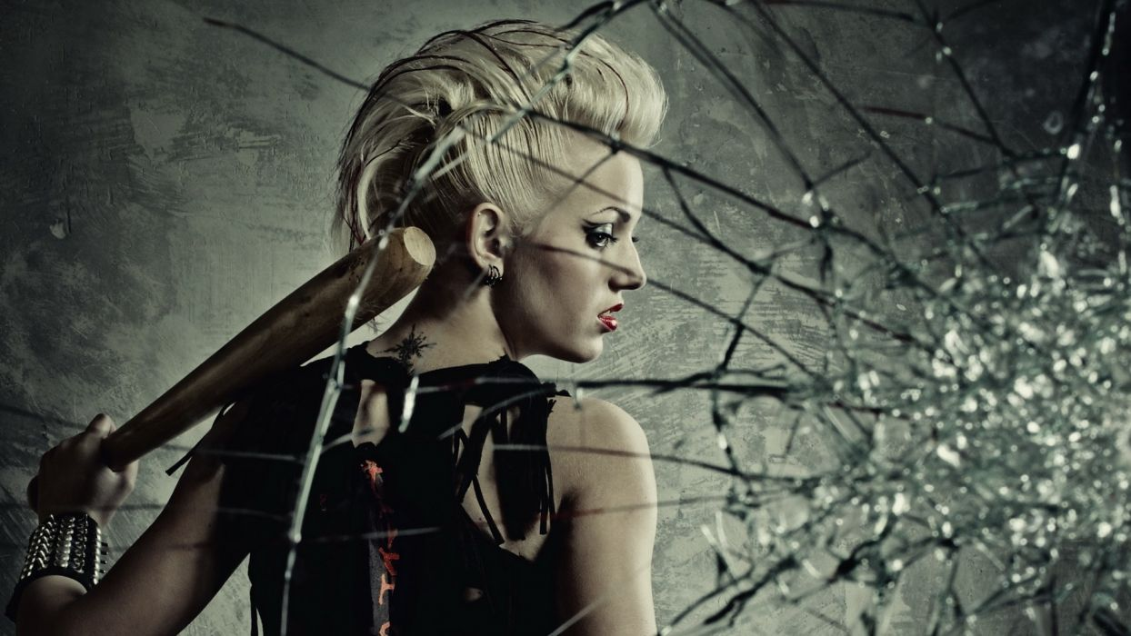 Anarchy dark glass broken shatter crack bat mood emotion women models cyberpunk punk blondes sexy babes wallpaper
