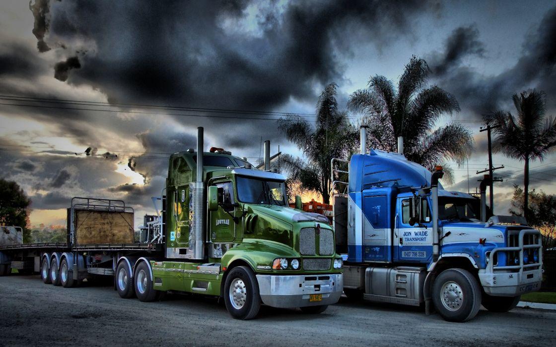 Truck semis sky palm trees  wallpaper