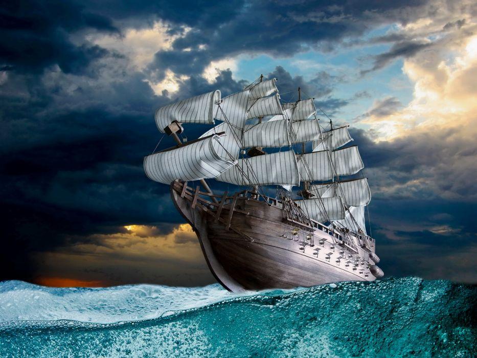 ships boats ocean sea sky clouds wallpaper