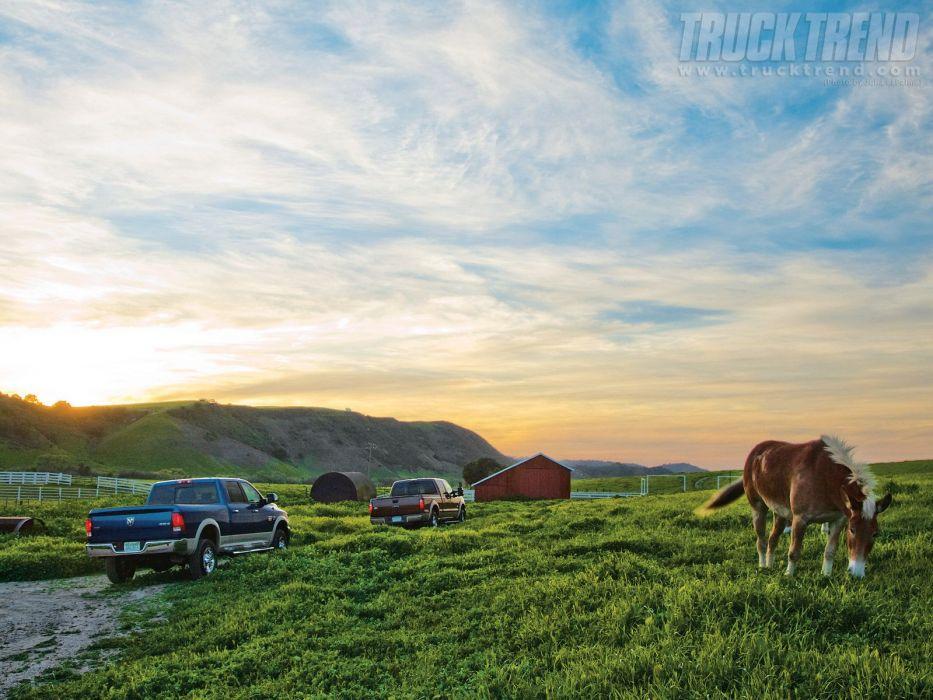 Trucks horses farm vehicles clouds wallpaper
