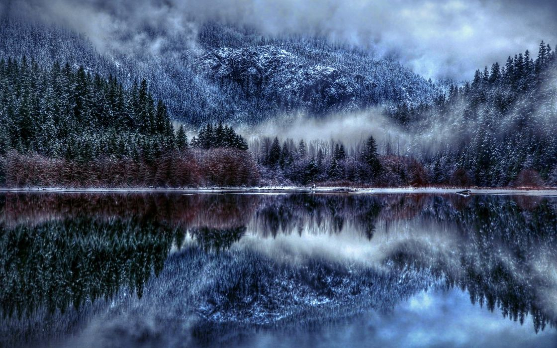 nature winter lake snow fog reflection clouds mountains wallpaper