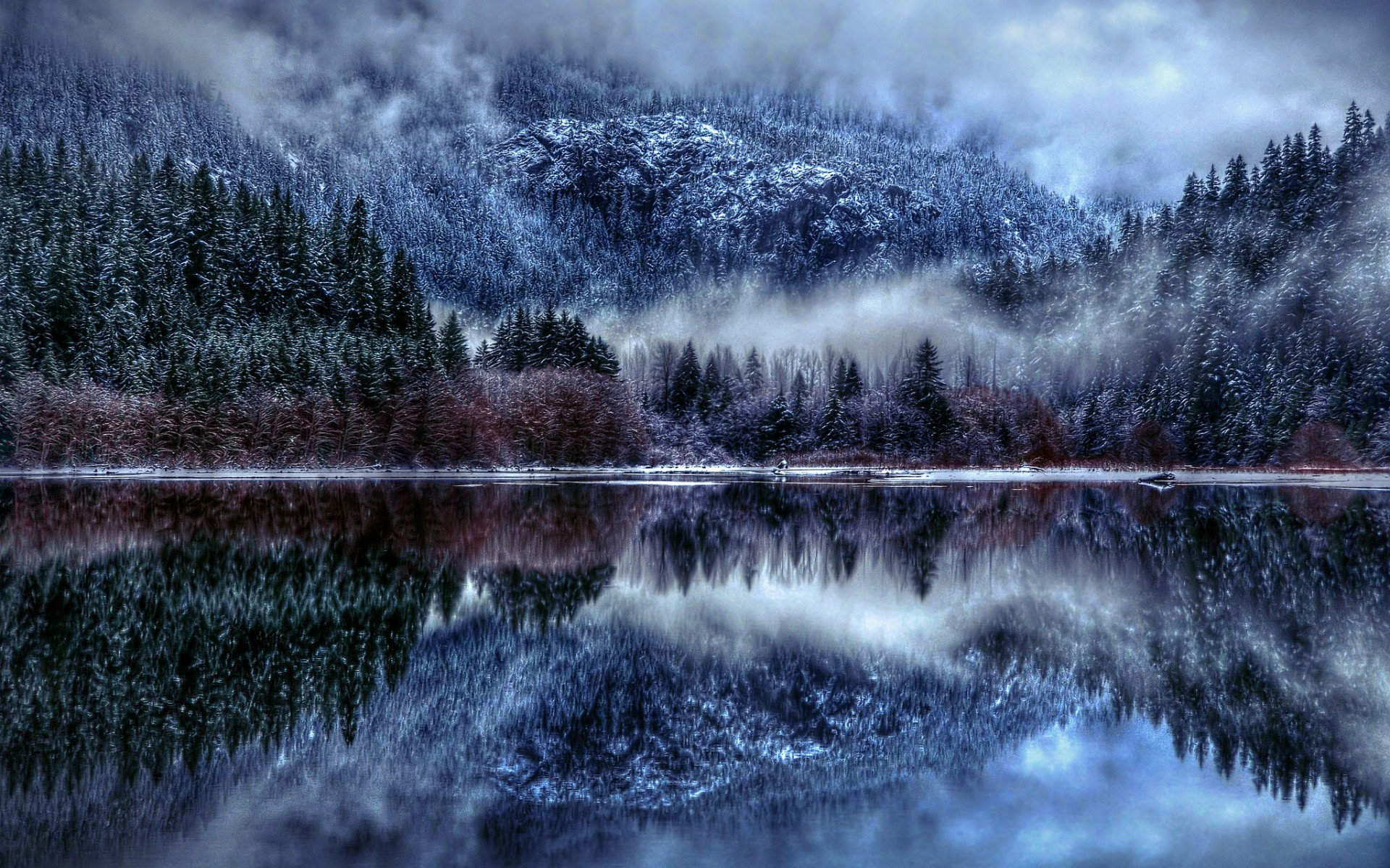 nature winter lake snow fog reflection clouds mountains