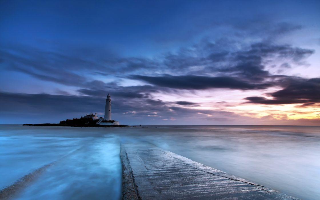 lighthouse ocean sea sky clouds sunset sunrise wallpaper
