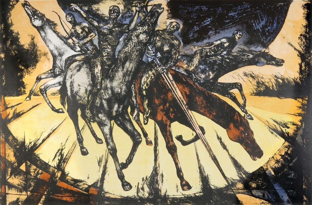 4 Horsemen of the Apocalypse dark fantasy religion reaper horses apocalyptic wallpaper