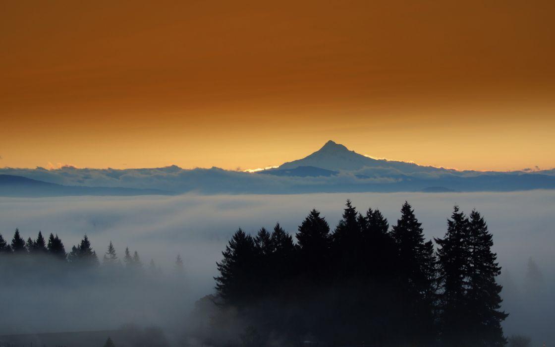 landscapes mountains fog wallpaper