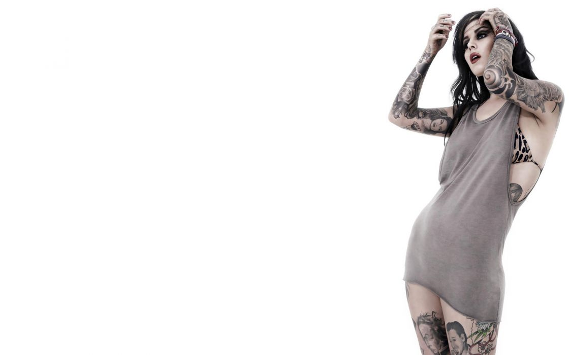 Kat Von D glam tattoo celeb women gothic brunettes sexy babes bikini wallpaper