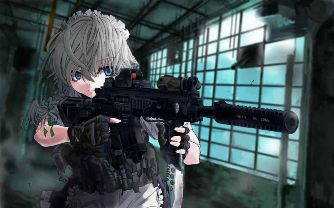 touhou machine gun izayoi sakuya heckler koch silencer terabyte anime girls wallpaper