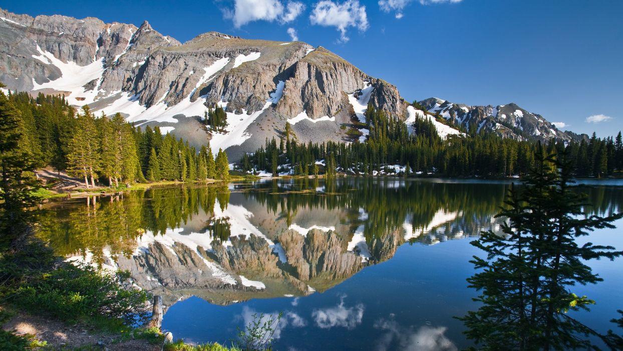 landscapes mountains reflection wallpaper