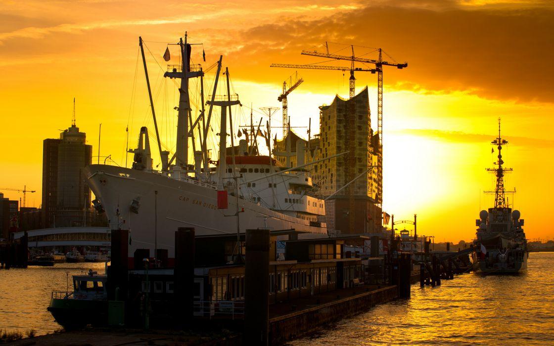 Ship Sunlight Dock sky wallpaper