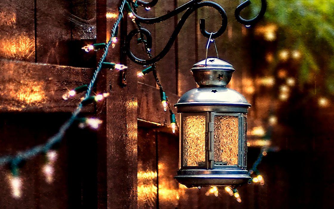 bokeh lights lamp fence wallpaper