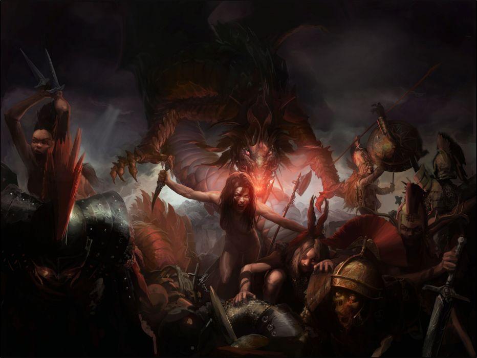 fantasy art dark battle warriors women girls weapons sword monsters creatures blood dragons wallpaper