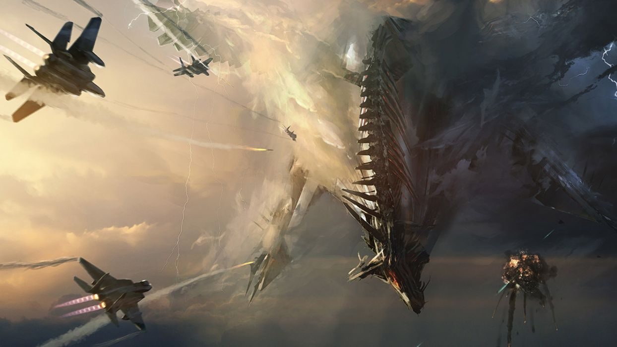 Jets Spaceship Drawing sci fi science battle invasion sky war military fighter apocalyptic wallpaper